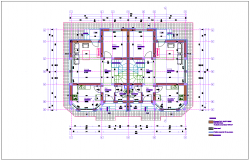 Duplex house architectural plan with first floor dwg file