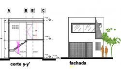 Duplex house elevation and section detail dwg file