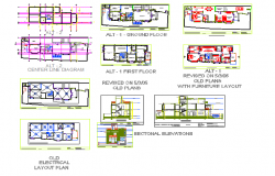 Duplex house interior detail in DWG file.