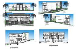 Duplex two family house all sided elevation and section details dwg file