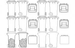 Dustbin CAD design drawing