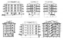 Dwg file of residential apartment elevation