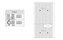 Dwg file of residential bungalow section with roof plan