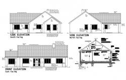 Dwg file of residential house elevation