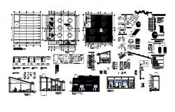 Dwg file of the cafeteria with elevations