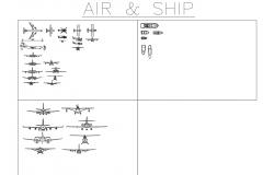 Dynamic airplane and ship blocks cad drawing details dwg file