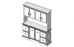 Dynamic drawing room cabinet block 3d drawing details dwg file