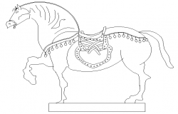 Dynamic horse sculpture cad block design dwg file