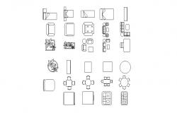 Dynamic household and multiple furniture blocks cad drawing details dwg file