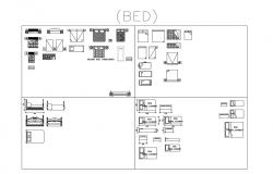 Dynamic single and double bed elevation blocks cad drawing details dwg file