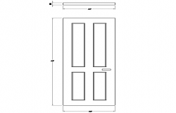 Dynamic single door block design dwg file