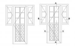 Dynamic single two door elevation cad block details dwg file