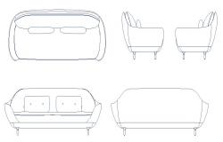 Dynamic sofa set elevation block cad drawing details dwg file