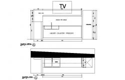 Dynamic television cabinet section cad drawing details dwg file