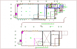 EPS building view with plan view of drain piping dwg file