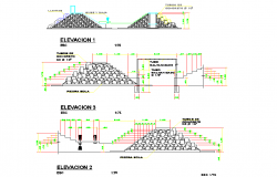 Earth rockfill dam elevation plan detail dwg file