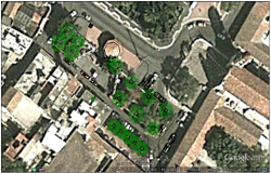 Earth view of public park landscaping details dwg file