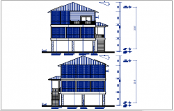 East and west elevation details with dimension details dwg file