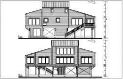 East and west elevation details with dimension details dwg files