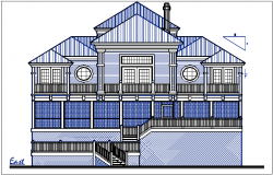 East elevation plan dimension details dwg files