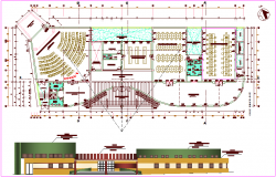 Education building plan,elevation dwg file