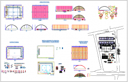 Education center design view with structural,sanitary,electrical and door and view with section view dwg file
