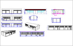 Education center isometric view with  elevation and section view with different axis dwg file