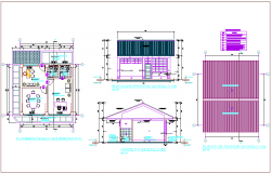 Education center plan and elevation view with detail of Tarred and Painted with Latex ceramic color dwg file