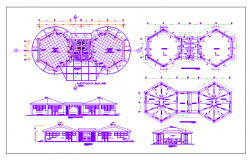 Education institute elevation, section and floor plan details dwg file