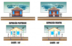 Education institution elevation layout dwg file