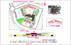 Educational institute design view with plan,elevation and section view dwg file
