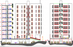 Eight flooring residential housing building elevation and section details dwg file