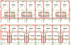Eight units group habitation architecture structure details dwg file