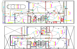 Electric Installation, Single Family 2 Flooring Bungalow Design dwg file