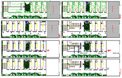 Electric and sanitary installation details of all floors of shopping center dwg file