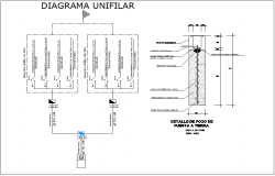 Electric diagram and earth well electric detail view for family house dwg file