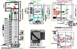 Electric elevator construction details of shopping mall dwg file
