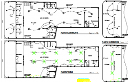 Electric installation details of all floors with plan of retail market dwg file