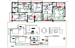 Electric installation details of house with layout plan details dwg file