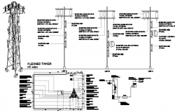 Electric installation details with cabin and cable details dwg file