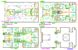 Electric installation of residential building dwg file