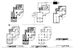Electric layout plan of Restaurant with different elevation and section in dwg file
