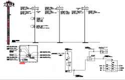 Electric tower installation details with cabin dwg file