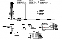 Electric tower installation with cabin and single line diagram dwg file
