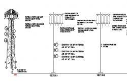 Electric tower installation with two legs details dwg file
