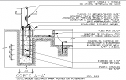Electrical channel for post in foundation details dwg file