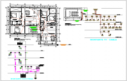 Electrical diagram and plan layout detail view dwg file