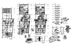 Electrical installation and floor plan details of apartment building dwg file