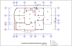 Electrical installation floor plan of office dwg file