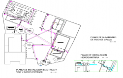 Electrical installation plan of camp shop with hydro sanitary detail dwg file